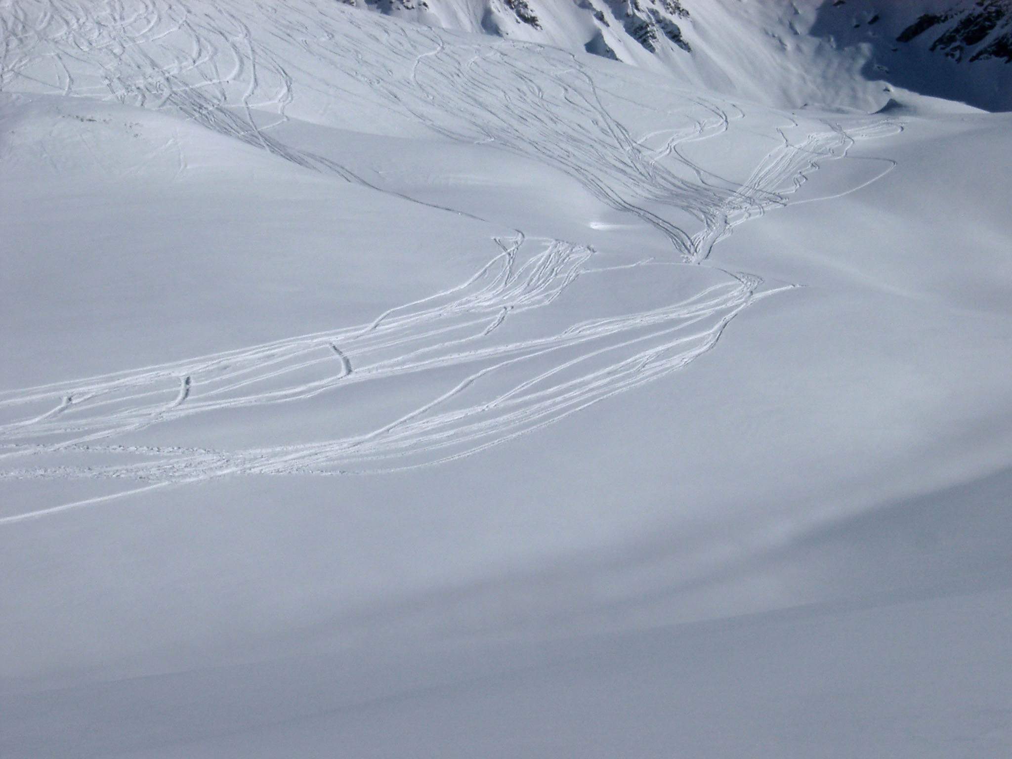 Beautiful Extensive View of Fresh Snow in Wide Snow Field with Board Trails During Winter Holiday.