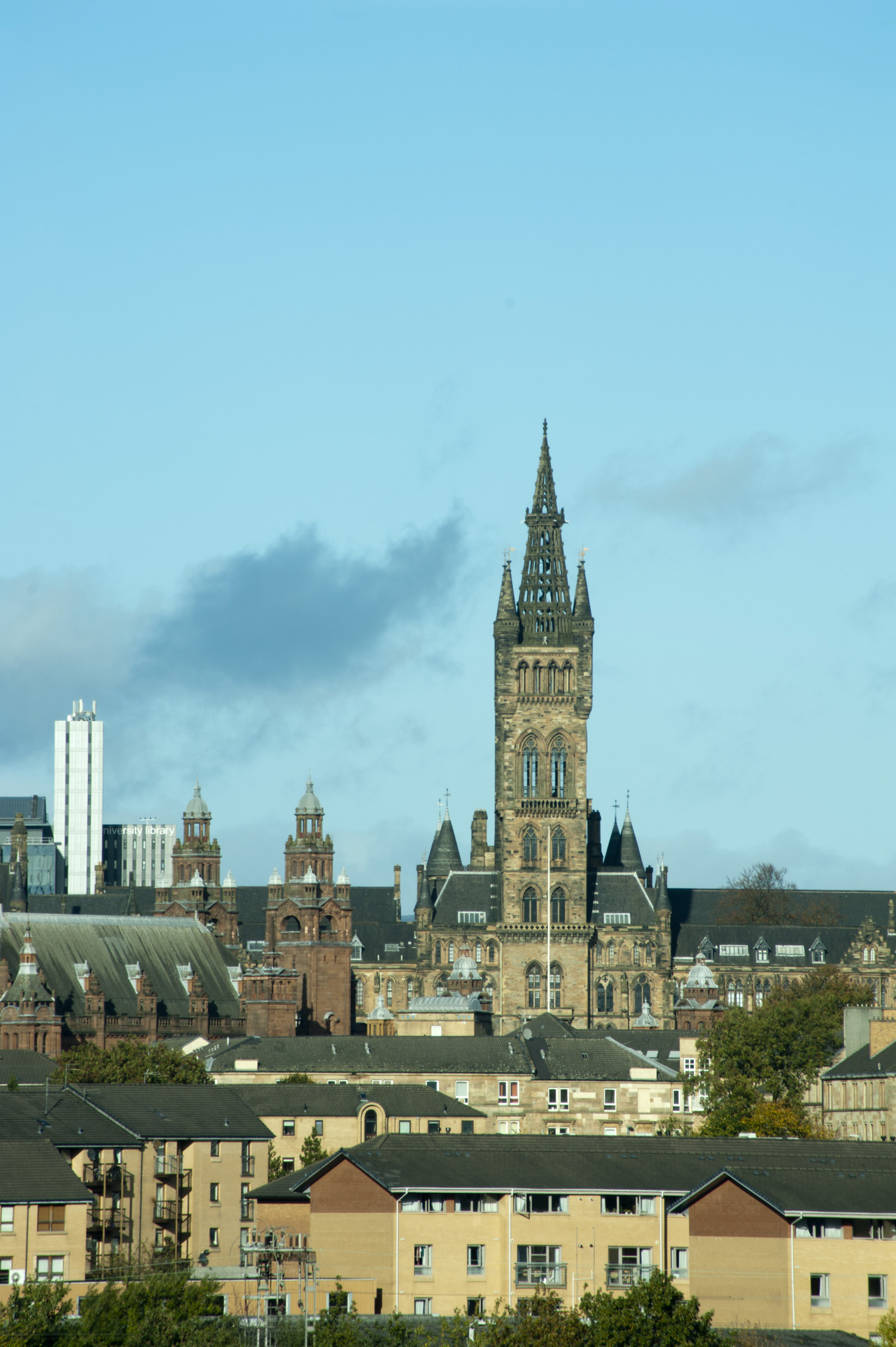 Scenic view of the University of Glasgow buildings with the landmark Gothic Bell tower dominating the skyline
