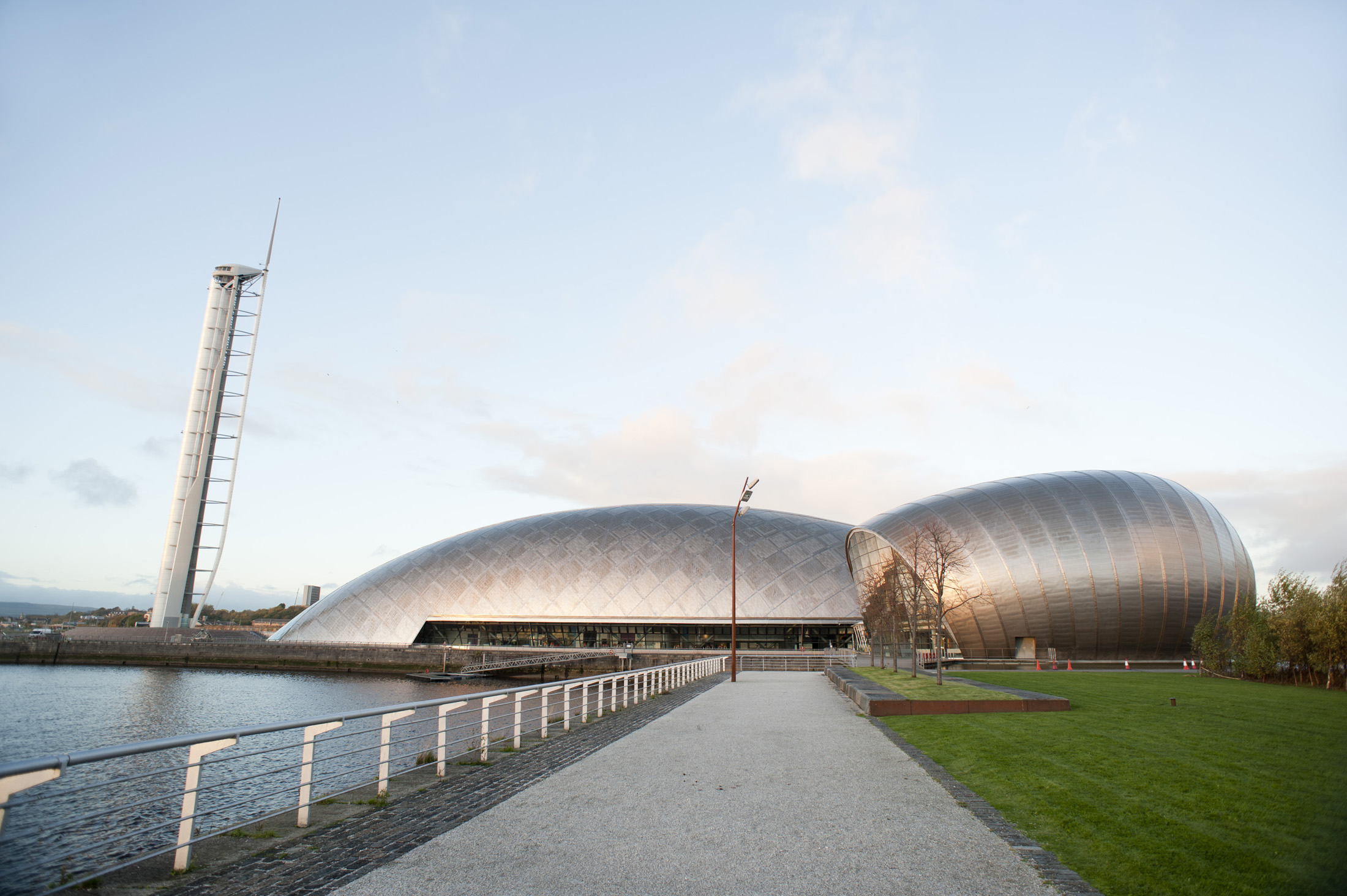 Glasgow Princes Dock Development and the Glascow Science Centre building on the River Clyde which houses exhibitions of scince and technology