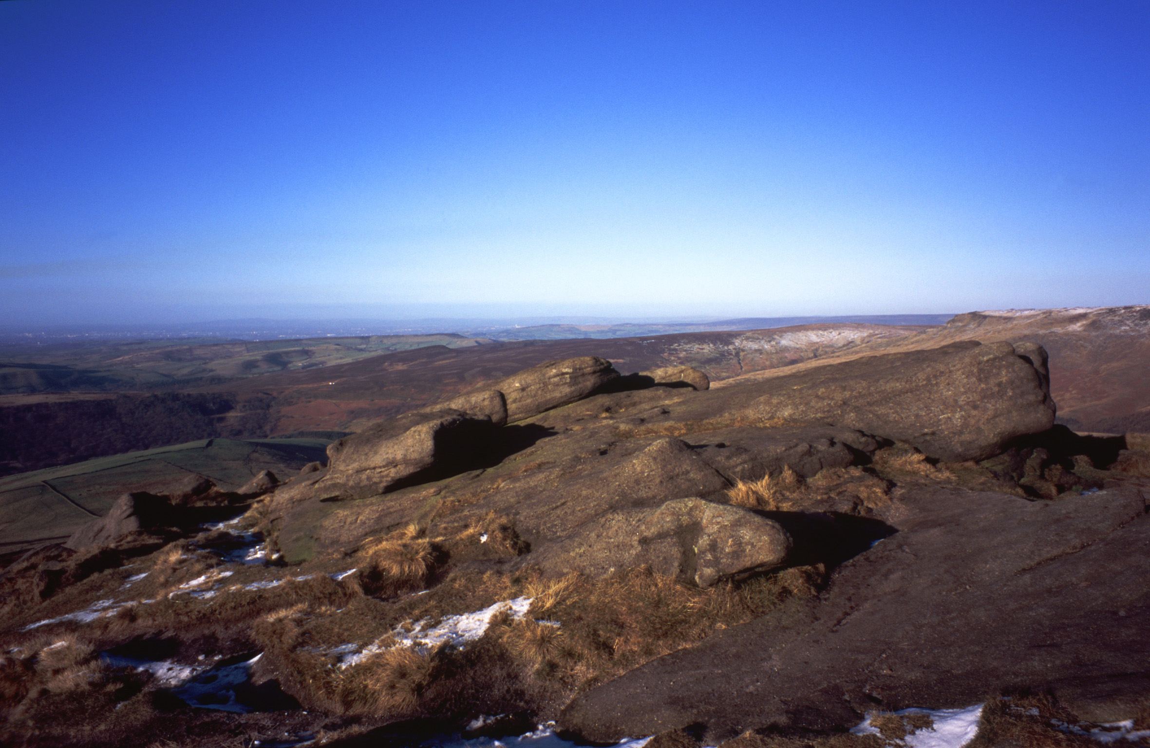 panoramic view from the top of kinder scout, lancashire
