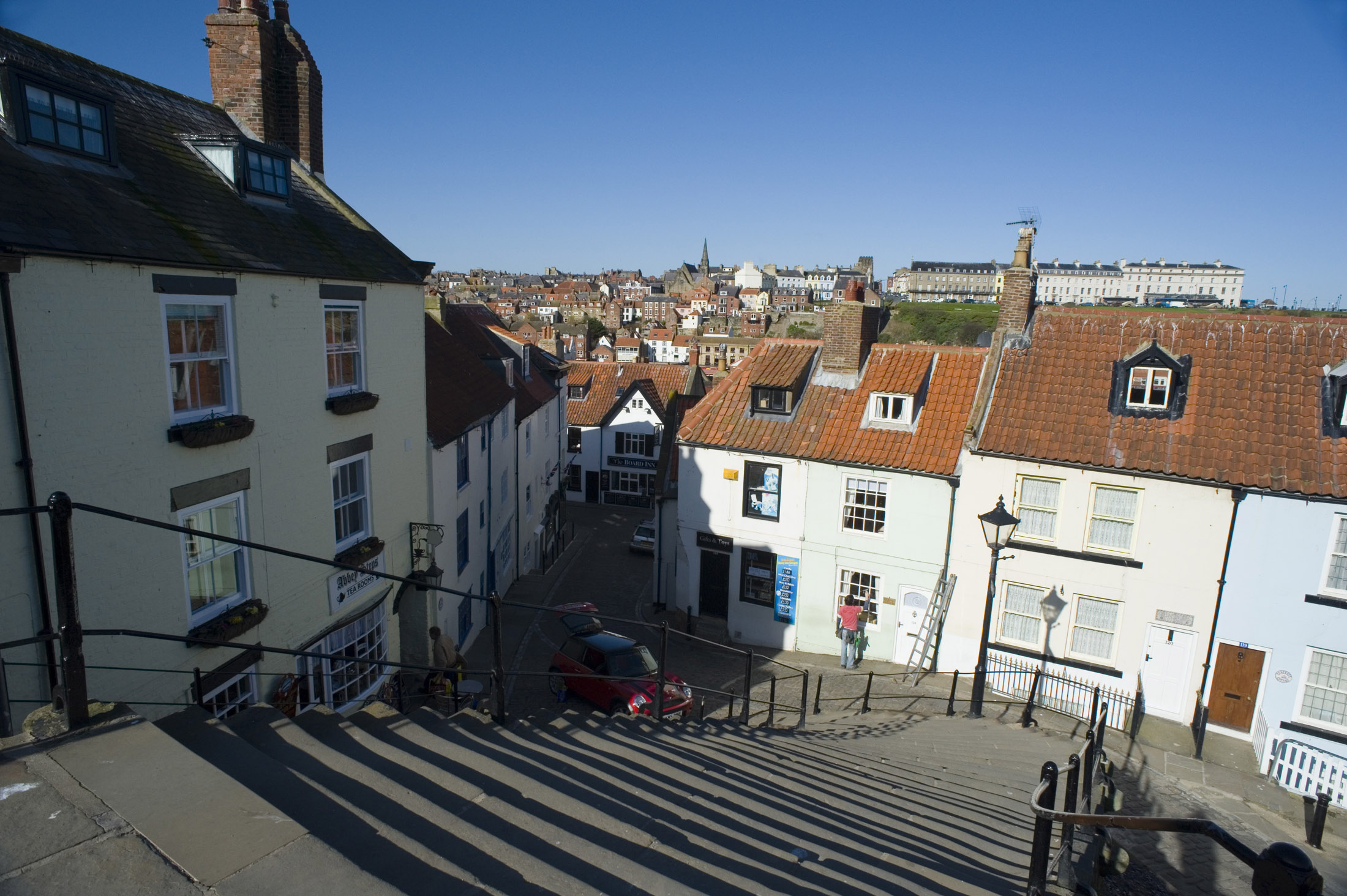 the church stairs and houses at tate hill whitby